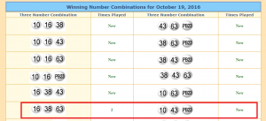 Snippet of Three-Number Combinations from lotterytrend-powerball.com. The repeating Combination is in the red box.